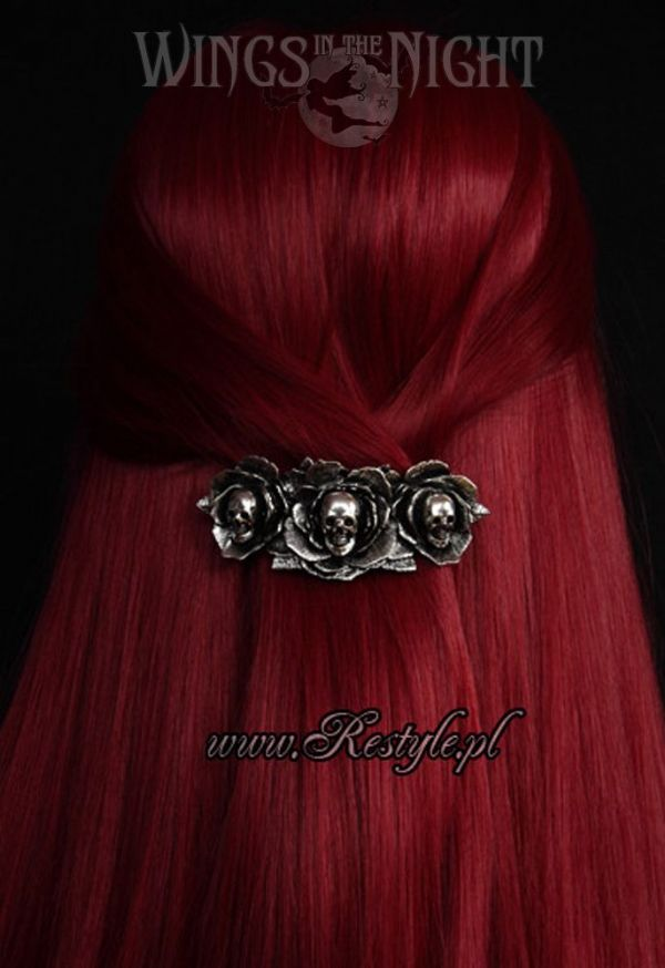 RESTYLE Gothic Dark Wonderland Skulls and Roses Hair Clip